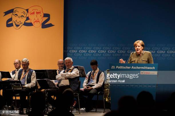 German Chancellor and leader of the German Christian Democrats Angela Merkel speaks to supporters at the CDU political Ash Wednesday gathering on...
