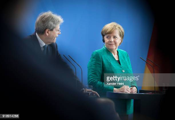 German Chancellor and leader of the German Christian Democrats Angela Merkel and the Italian Prime Minister Paolo Gentiloni at a press conference at...