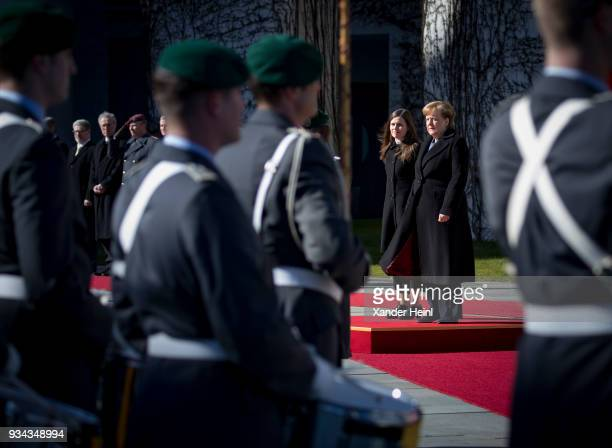 German Chancellor and leader of the German Christian Democrats Angela Merkel welcomes Island's Prime Minister Katrin Jakobsdottir with military honor...