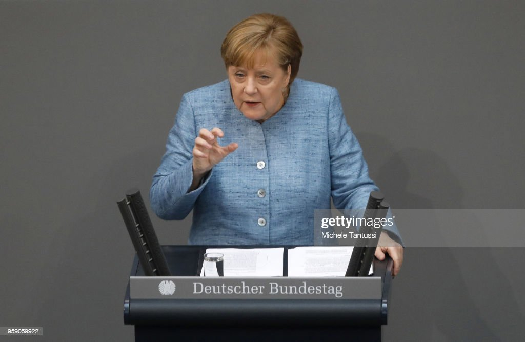 German Chancellor and leader of the German Christian Democrats (CDU) Angela Merkel addresses the Bundestag during debates over the federal budget on May 16, 2018 in Berlin, Germany. Today's debates are likely to be the most intense since the current Bundestag was constituted following last year's federal elections. The right-wing Alternative for Germany (AfD) is the largest opposition party. The governing coalition is composed of Christian Democrats (CDU/CSU) and Social Democrats (SPD).