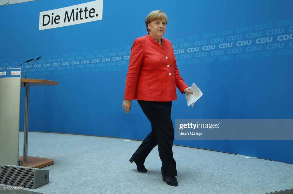 Merkel Holds Press Conference Over Migrants Policy Disagreement : News Photo