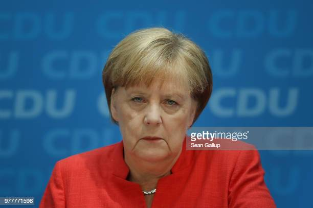 German Chancellor and leader of the German Christian Democrats Angela Merkel speaks to the media following two days of talks amongst the CDU...