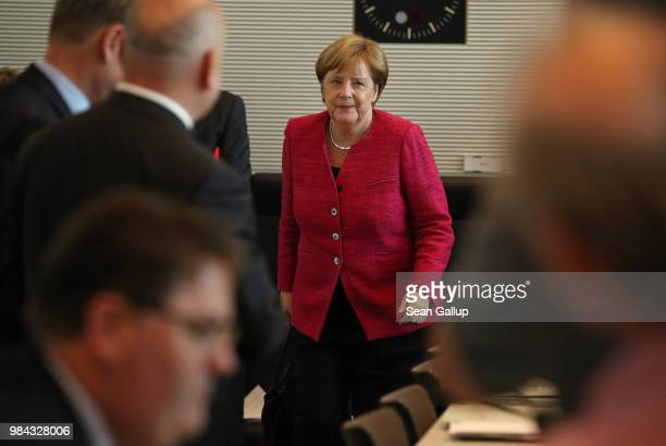 German Chancellor and leader of the German Christian Democrats Angela Merkel arrives for a meeting of the joint Bundestag faction of the CDU and the...