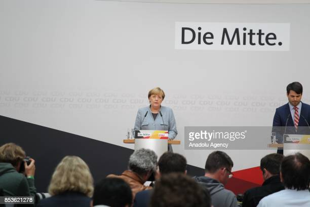 German Chancellor and the Leader of the Christian Democratic Union of Germany Angela Merkel holds a press conference after a meeting with her party's...