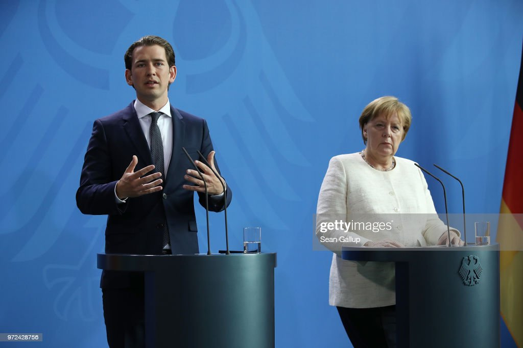 German Chancellor Angeka Merkel and Austrian Chancellor Sebastian Kurz speak to the media following talks at the Chancellery on June 12, 2018 in Berlin, Germany. High on the two leader's topics of discussion was migration policy.