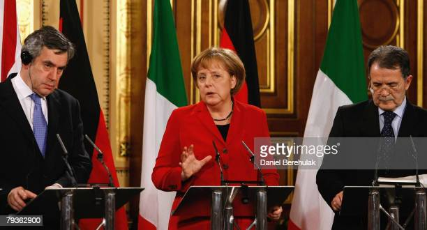 German Chancellor Angela Merkel address the media as British Prime Minister Gordon Brown and Prime Minister Romano Prodi look on during a press...