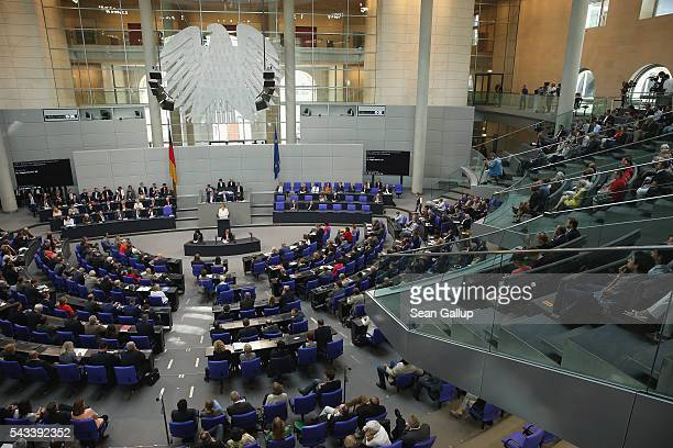 German Chancellor Angela Merkel addresses the Bundestag with a government declaration on the recent Brexit vote on June 28 2016 in Berlin Germany...