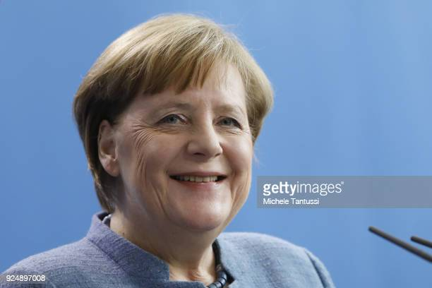German Chancellor Angela Merkel addresses the media during a joint press conference with Serbian President in the German Chancellery on February 27...