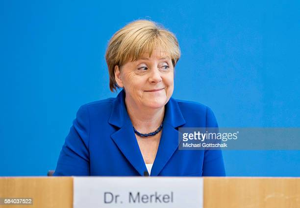 German Chancellor Angela Merkel addresses the media during her annual summer press conference in German Federal Press Conference or...