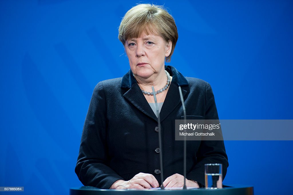 German Chancellor Angela Merkel addresses the media prior a meeting with the Ukranian President in the German Chancellery on February 01, 2016 in Berlin, Germany. The two leaders met primarily to discuss the situation in Ukraine, with both leaders urging the EU to renew sanctions againt Russia for its support of pro-Russian rebels in the east of Ukraine.