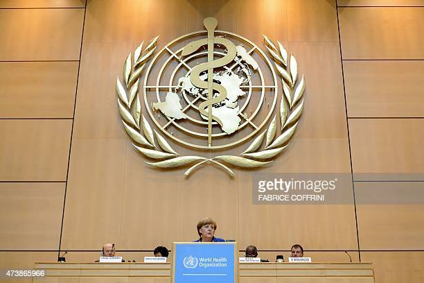 German Chancellor Angela Merkel addresses the World Health Organization general assembly on May 18 2015 in Geneva AFP PHOTO / FABRICE COFFRINI / AFP...