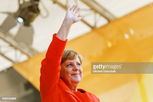 German Chancellor Angela Merkel adresses the audience during her election campaign for Bundestagswahl 2017 or Federal election 2017 on August 21 2017...