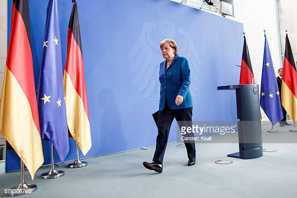German Chancellor Angela Merkel after a statement following the shootings in Munich on July 23, 2016 in Berlin, Germany. According to police, ten...