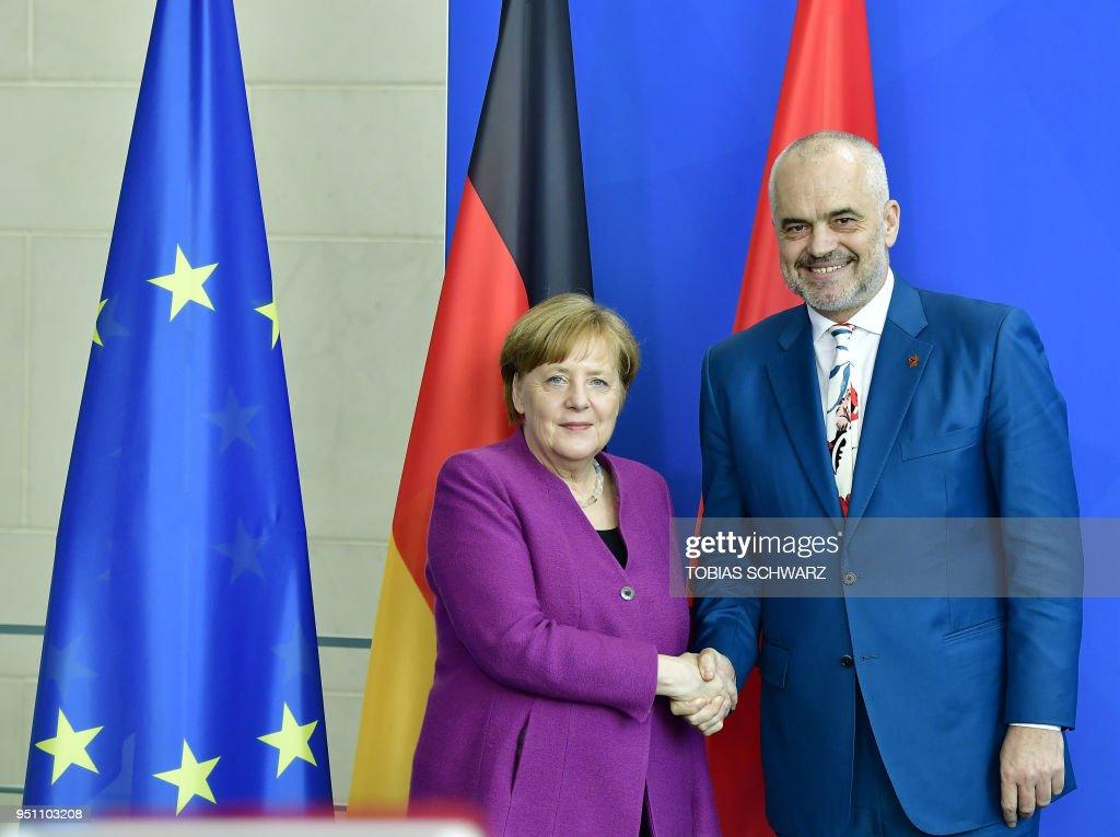 Merkel Meets With Albanian Prime Minister Edi Rama