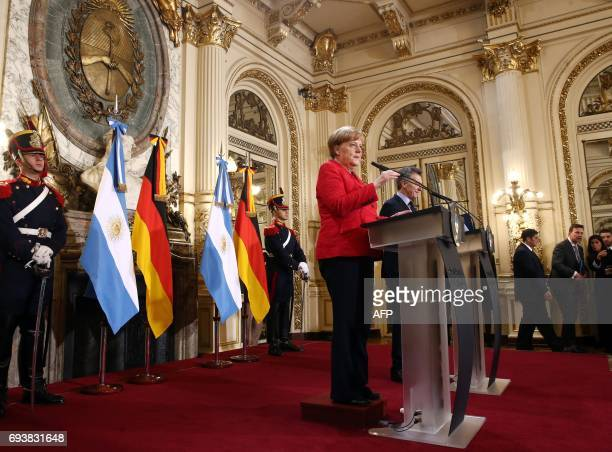 German Chancellor Angela Merkel and Argentinian President Mauricio Macri offer a joint conference after holding a working meeting at the Casa Rosada...