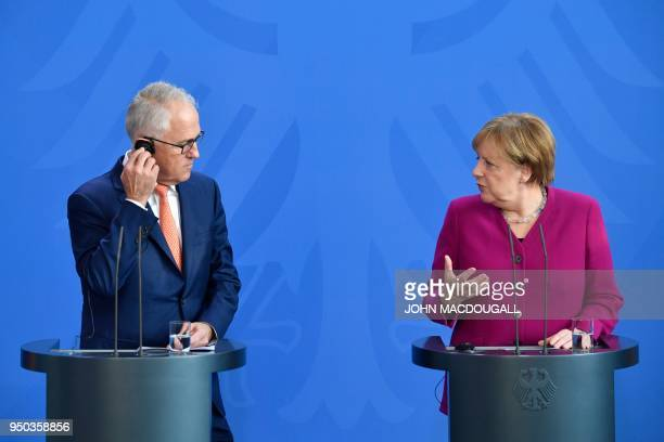 German Chancellor Angela Merkel and Australian Prime Minister Malcolm Turnbull address journalists prior to their meeting at the chancellery in...