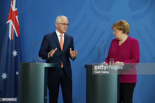 German Chancellor Angela Merkel and Australian Prime Minister Malcolm Turnbull speak to the media prior to talks at the Chancellery on April 23 2018...