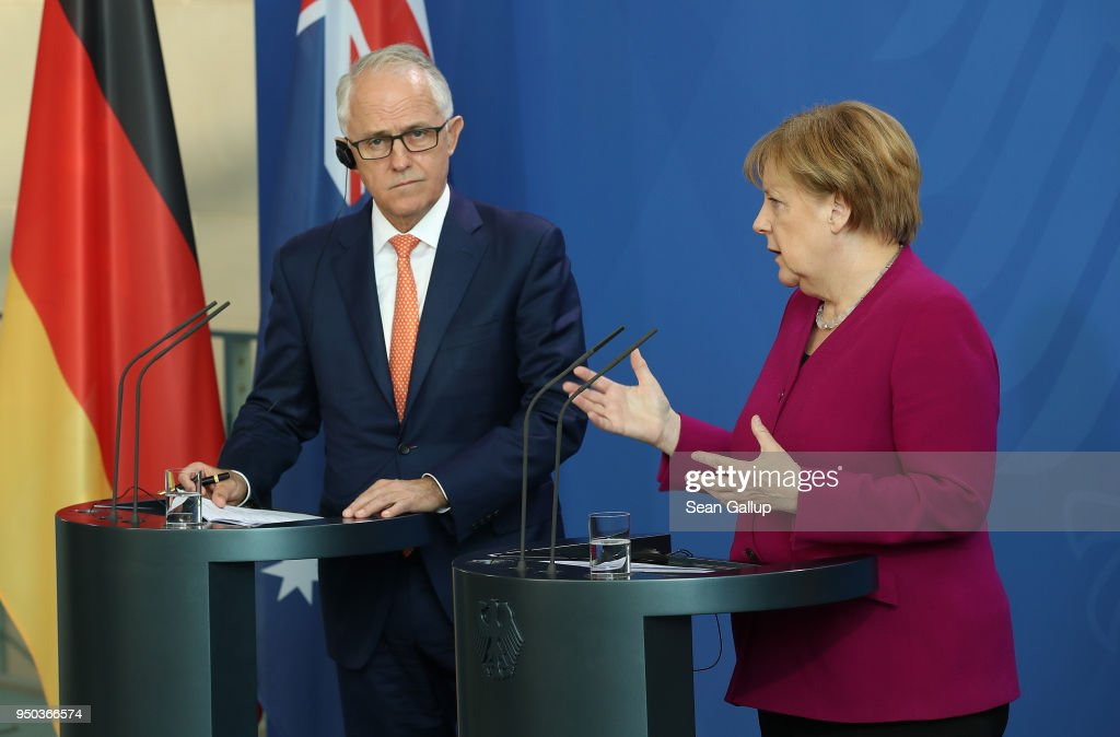 Australian Prime Minister Turnbull Meets With Angela Merkel