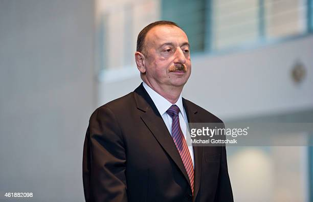 German Chancellor Angela Merkel and Azerbaijani President Ilham Aliyev attend a press conference in the Chancellery on January 21 2015 in Berlin...