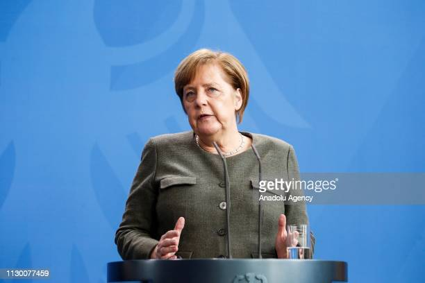 German Chancellor Angela Merkel and Belgian Prime Minister Charles Michel hold a joint press conference following their meeting in Berlin, Germany on...