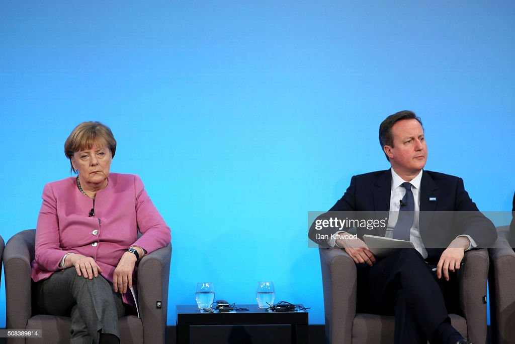 German Chancellor Angela Merkel and British Prime Minister David Cameron attend the 'Supporting Syria Conference' at The Queen Elizabeth II Conference Centre on February 4, 2016 in London, England. World leaders including British Prime Minister David Cameron and German Chancellor Angela Merkel will gather for the 4th annual donor conference in an attempt to raise £6.2bn GBP to those affected by the war in Syria.