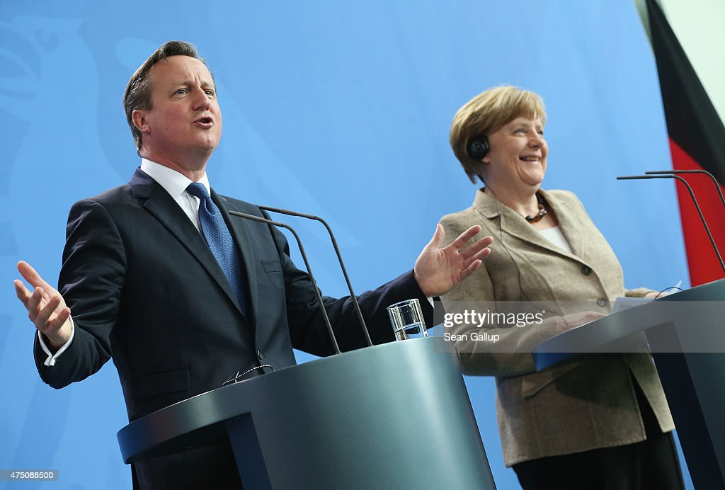 German Chancellor Angela Merkel and British Prime Minister David Cameron speak to the media following talks at the Chancellery on May 29, 2015 in Berlin, Germany. Cameron is in Berlin as part of his tour of European Union member states capitals in order to persuade leaders on the necessity of E.U. reforms.