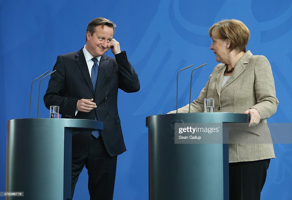 German Chancellor Angela Merkel and British Prime Minister David Cameron arrive to speak to the media following talks at the Chancellery on May 29, 2015 in Berlin, Germany. Cameron is in Berlin as part of his tour of European Union member states capitals in order to persuade leaders on the necessity of E.U. reforms.