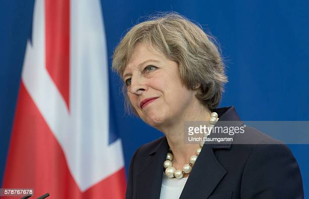 German Chancellor Angela Merkel and British Prime Minister Theresa May speak to the media following talks at the Chancellery on July 20 2016 in...