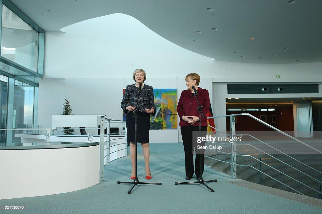 Angela Merkel And Theresa May Give Statements Following Talks : News Photo