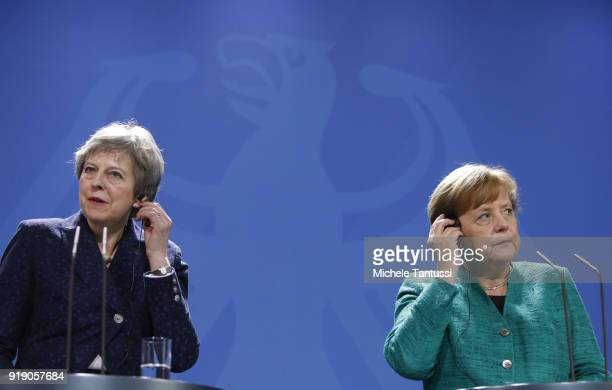 German Chancellor Angela Merkel and British Prime Minister Theresa May speak to the media following talks between the two leaders at the Chancellery...