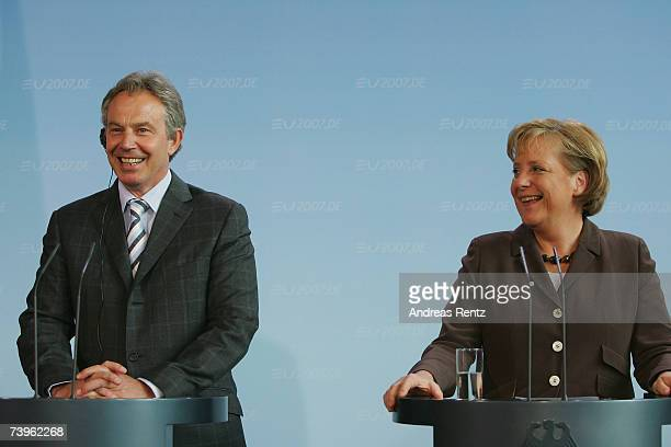 German Chancellor Angela Merkel and British Prime Minister Tony Blair address the media during a news conference on April 24 2007 in Berlin Germany...