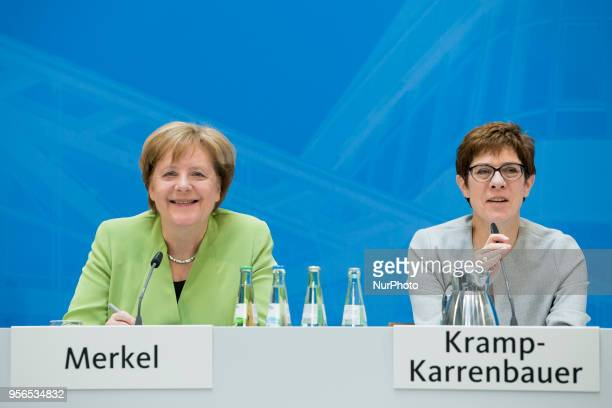 German Chancellor Angela Merkel and CDU Secretary General Annegret KrampKarrenbauer are pictured during a District chairwowen and chairmen conference...