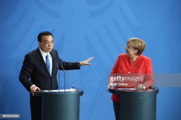 German Chancellor Angela Merkel and Chinese Premier Li Keqiang speak to the media following GermanyChina government consultations on July 9 2018 in...
