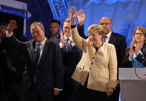 DEU: Merkel And Laschet Campaign In Stralsund As Elections Near