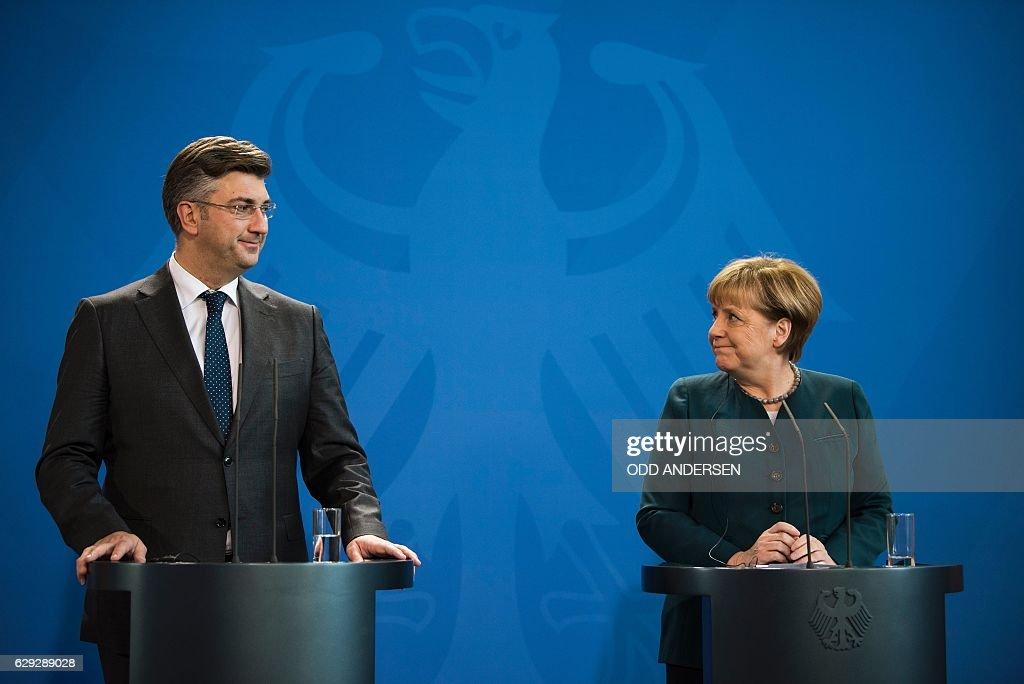 Croatian prime minister Andrej Plenkovic meets with German Chancellor Angela Merkel