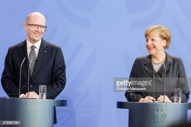 German Chancellor Angela Merkel and Czech Prime Minister Bohuslav Sobotka speak to the media after there meeting in the Chancellery on March 13, 2014...