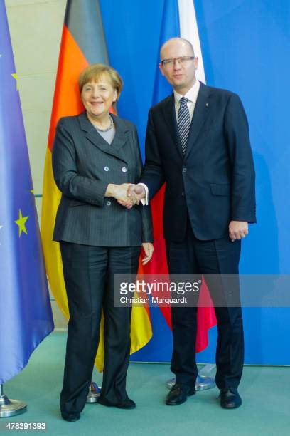 German Chancellor Angela Merkel and Czech Prime Minister Bohuslav Sobotka shake hands after there meeting in the Chancellery on March 13, 2014 in...