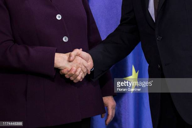 German Chancellor Angela Merkel and David-Maria Sassoli , President of the European Parliament, are pictured after a press conference on October 08,...
