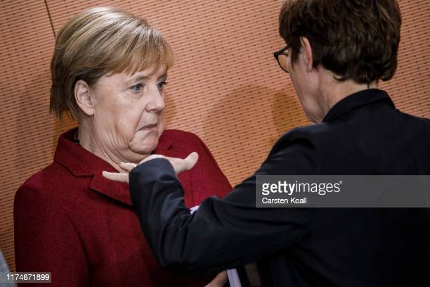 German Chancellor Angela Merkel and Defence Minister Annegret KrampKarrenbauer attend the weekly German government cabinet meeting on October 9 2019...