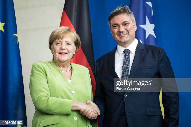 German Chancellor Angela Merkel and Denis Zvizdic Chairman of the Council of Ministers of Bosnia and Herzegovina are pictured after a press...