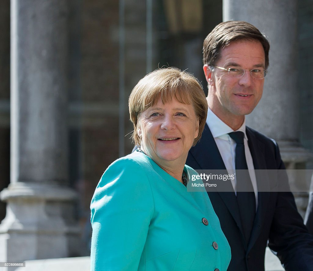 German Chancellor Angela Merkel and Dutch Prime Minister Mark Rutte arrive to attend the Four Freedoms Awards on April 21, 2016 in Middelburg Netherlands.