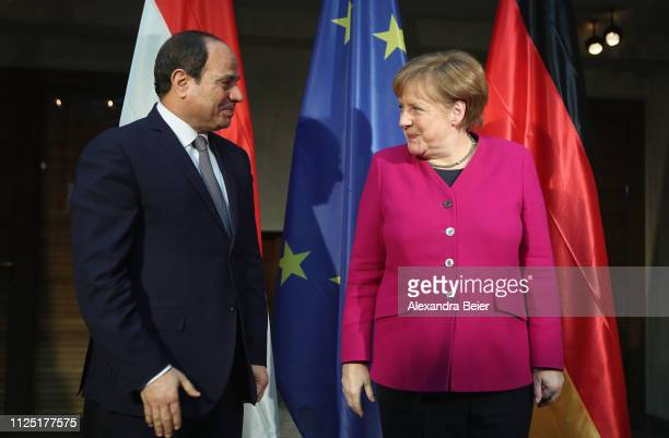 German Chancellor Angela Merkel and Egypt president Abdel Fatah alSisi are pictured during a photo call before bilateral talks during the 55th Munich...