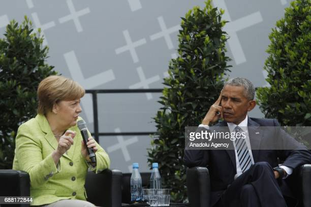 German Chancellor Angela Merkel and Former US President Barack Obama attend the Panel discussion Demokratie gestalten during the Event of the Church...