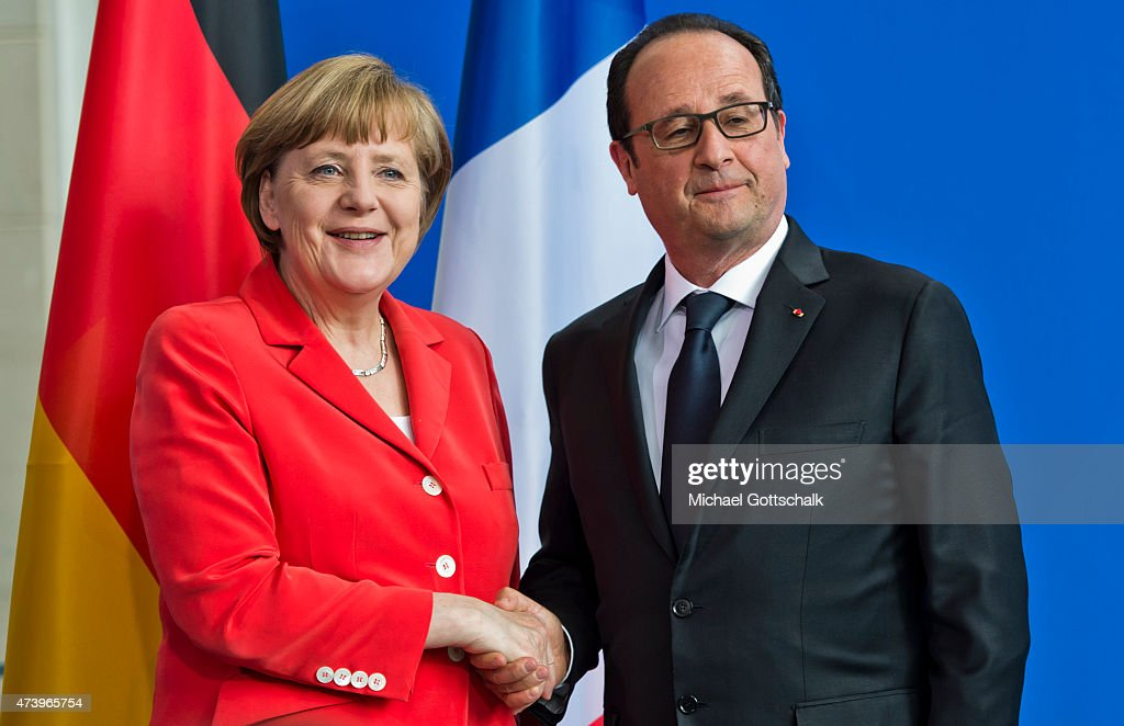 German Chancellor Angela Merkel and Francois Hollande, President of France, attend a press conference in german chancellery on May 19, 2015 in Berlin, Germany. Holland attends Petersberg Climate Dialogue Conference or Petersberger Klimadialog in Berlin.