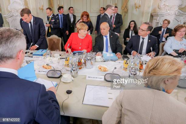 German Chancellor Angela Merkel and French Interior Minister Gerard Collomb attend the 20th GermanFranco Ministerial Council at Schloss Meseberg on...