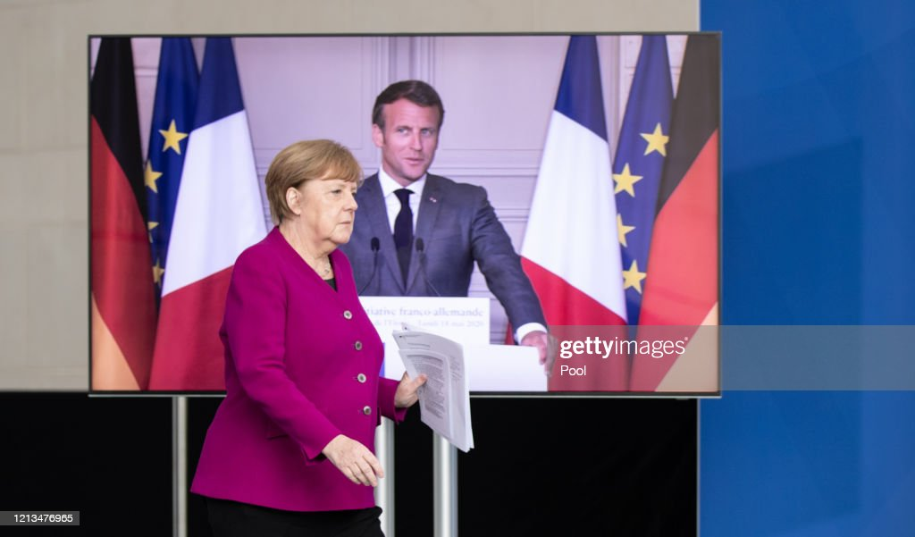 Merkel And Macron Hold Joint Press Conference During The Coronavirus Crisis : News Photo