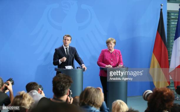 German Chancellor Angela Merkel and French President Emmanuel Macron hold a joint press conference after their meeting in Berlin Germany on May 15...