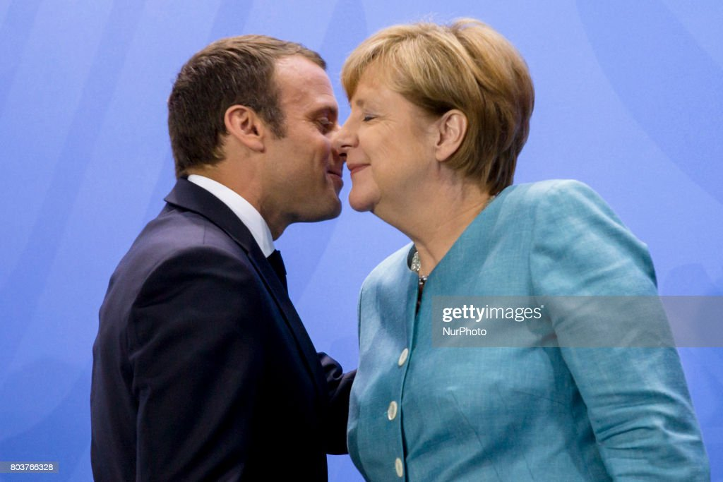 German Chancellor Angela Merkel and French President Emmanuel Macron are pictured during a news conference at the Chancellery in Berlin, Germany on June 29, 2017. Chancellor Merkel is meeting today the the European leaders of the G20 prior to the G20 which will be in Hamburg on July 7 and 8, 2017.