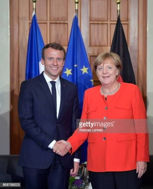 German Chancellor Angela Merkel and French President Emmanuel Macron meet for bilateral talks while attending the opening of the Frankfurt Book Fair...