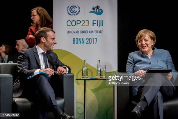 German Chancellor Angela Merkel and French President Emmanuel Macron attend the COP 23 United Nations Climate Change Conference on November 15 2017...